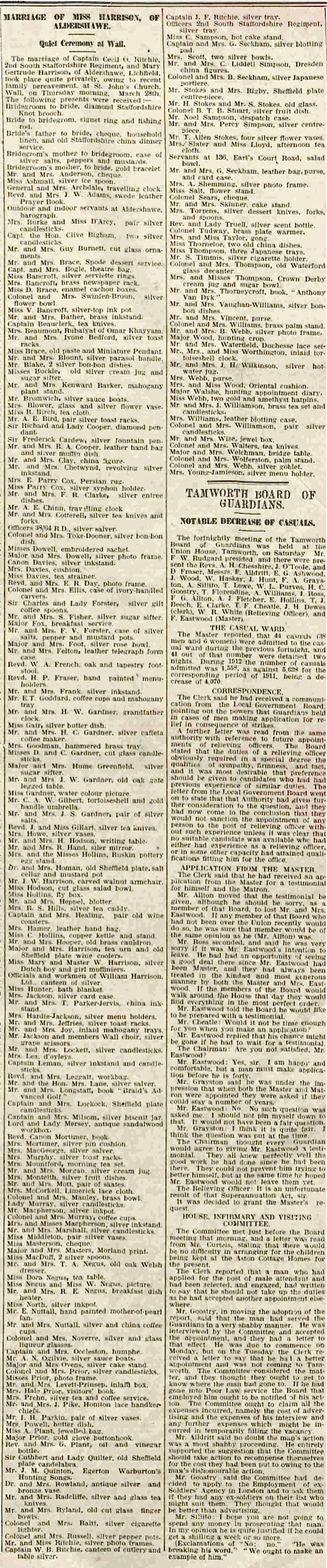 From the Lichfield Mercury, Friday 5th April 1912. Click for a larger version.