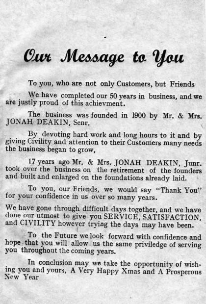 1950 Deakins the Grocers Jubilee brochure inside