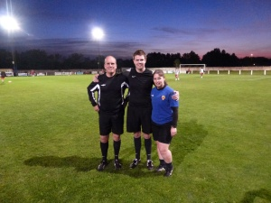 Match officials Messrs Stonier, Randles and Miss Scott-Mullen