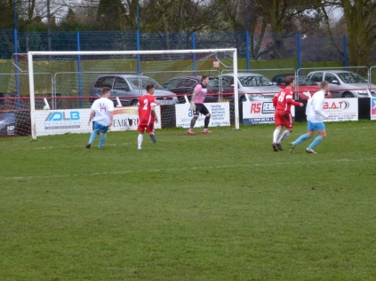 Westfields turn up the pressure to maximum as they strive to score a goal.