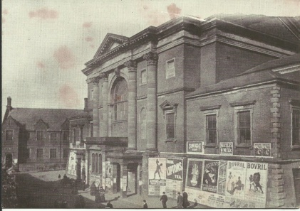 Corn Exchange just prior to demolition in 1898. The building stood in North Street on the site of the Civic Hall. The old Bluecoat School may be seen in the background.