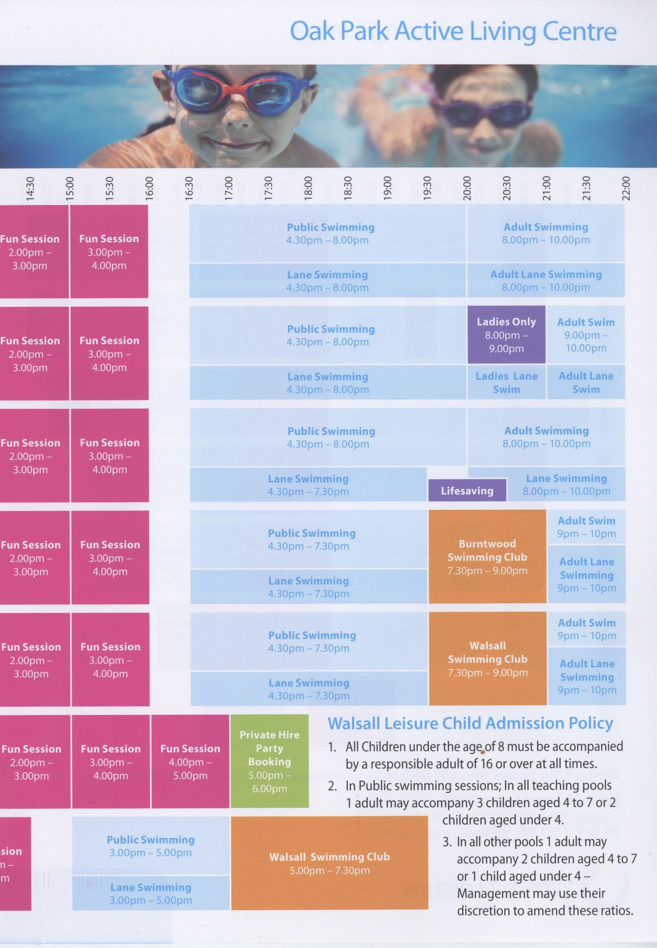 Oak Park Leisure Centre Swimming Timetable Sport Inpiration Gallery