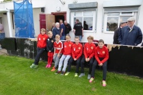 Some of the squadron of Walsall Wood Saints , excellent ball boys at this special match.