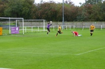 An early through move brings a challenge for Rocester's goal keeper. Game on.
