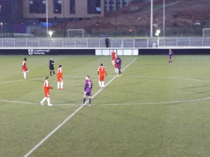 The second half gets under way. Both teams were to set to enjoy more competitive play, as were the shivering spectators, perched on high roosts in the smart stand