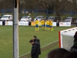 Team joy for Tividale after their second goal. Wood management briefly dejected.