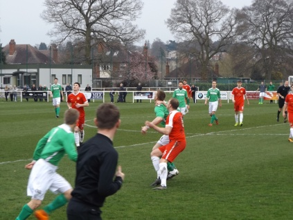 Brocton fielded a Goliath of a forward who was a field-wise competitor, seen attracting close interest here