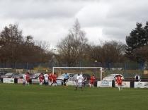 Cadbury in attack mode, causing the Wood's vociferous goalkeeper some grief