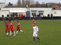 The Wood celebrate scoring their second, and match-winning goal, in the second half