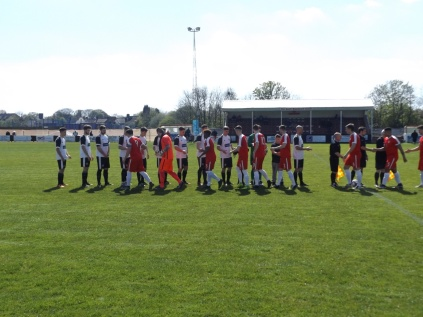 Wwfc shake hands with the very welcome Heanor Town team