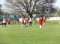 The match ends and players shake hands with their opponents. True sportsmen.