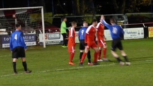 Corner kick to Wednesfield, hungry for a goal. Second half. T'aint over yet.