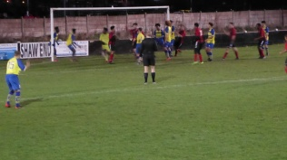 Late in the second and Pelsall score the equalising goal in a blur of players . Well done Pelsall