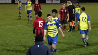 The game ends, players shake hands before heading to take a well-deserved and welcome hot shower. Pelsall showed increasing maturity, determination and resolve to take the game to Moors. A fair result. So nearly a win for Pelsall, too.