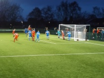 Second half and the flying Red Men are in action . Will this be a goal?